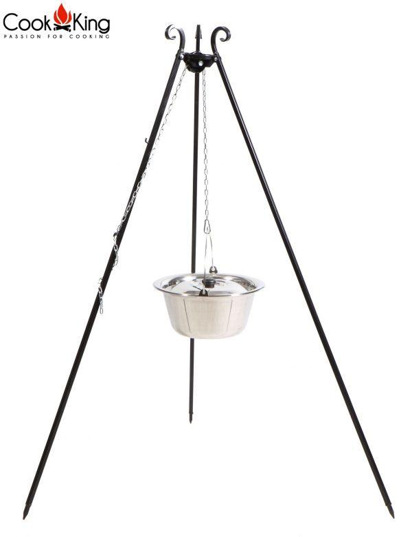 CookKing Dreibeingrill 180cm mit Edelstahl-Gulaschtopf