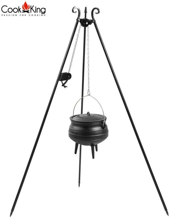CookKing Dreibeingrill 180cm mit Spule & Gusseisen-Afrikatopf