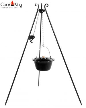 CookKing Dreibeingrill 180cm mit Spule & emailliertem Gulaschtopf