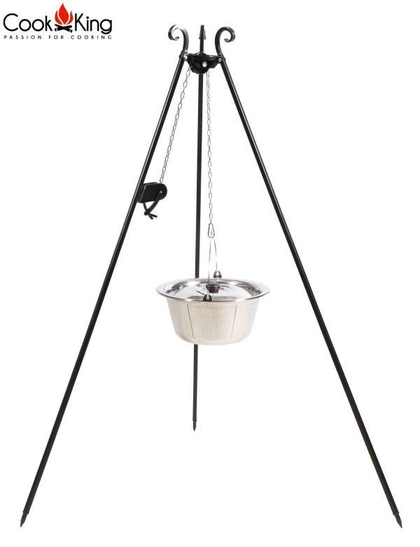 CookKing Dreibeingrill 180cm mit Spule & Edelstahltopf