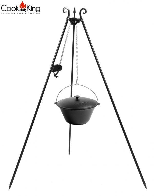 CookKing Dreibeingrill 180cm mit Spule & Gusseisen-Topf