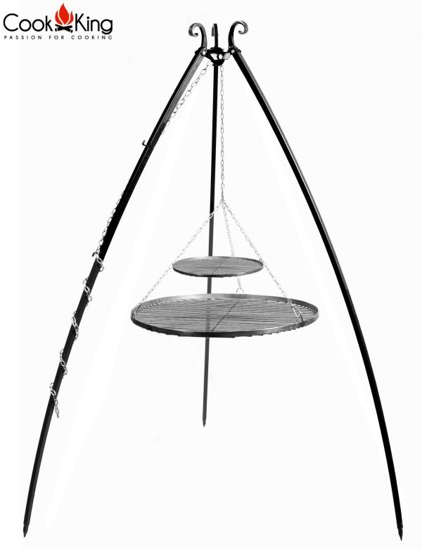 CookKing Dreibeingrill 200cm mit Doppel-Schwarzstahl-Grillrost