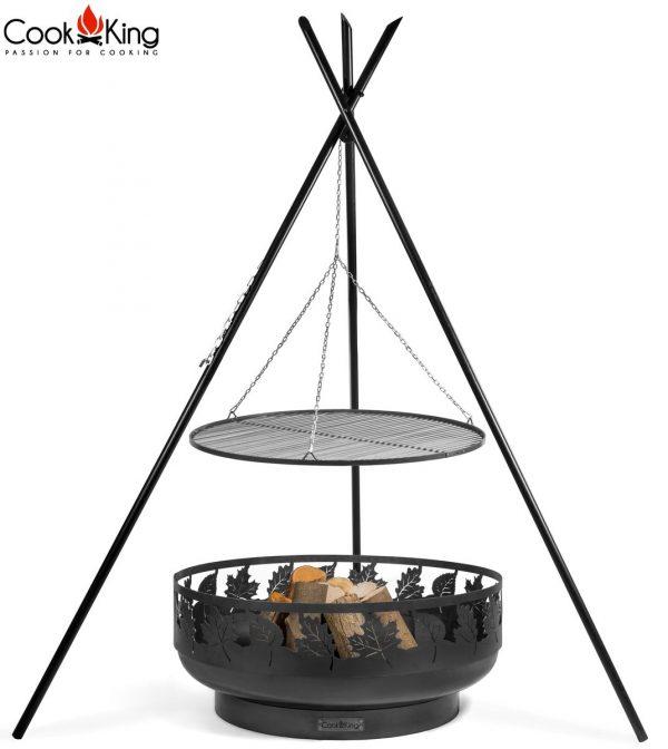 CookKing Feuerschale 'TORONTO' + Dreibeingrill Premium 220cm mit Schwarzstahl-Grillrost
