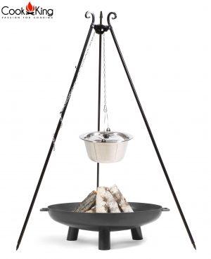 CookKing Feuerschale 'BALI' + Dreibeingrill 180cm mit Edelstahl-Gulaschtopf