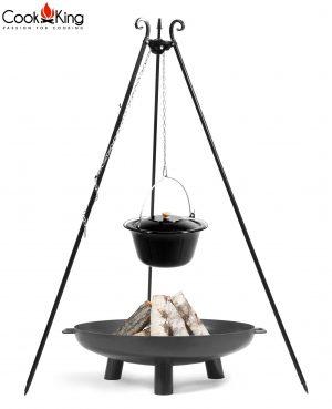 CookKing Feuerschale 'BALI' + Dreibeingrill 180cm mit emailliertem Gulaschtopf