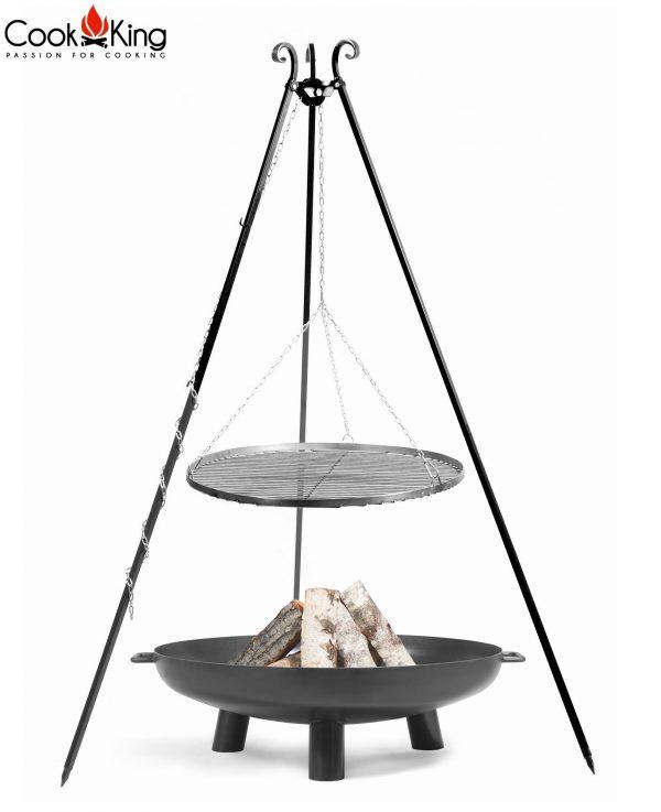 CookKing Feuerschale 'BALI' + Dreibeingrill 180cm mit Schwarzstahl-Grillrost