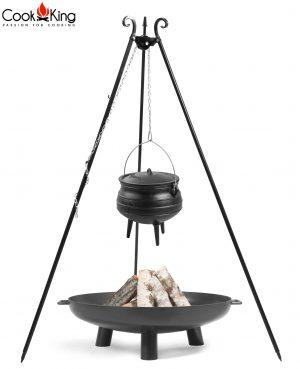 CookKing Feuerschale 'BALI' + Dreibeingrill 180cm mit Gusseisen-Afrikatopf