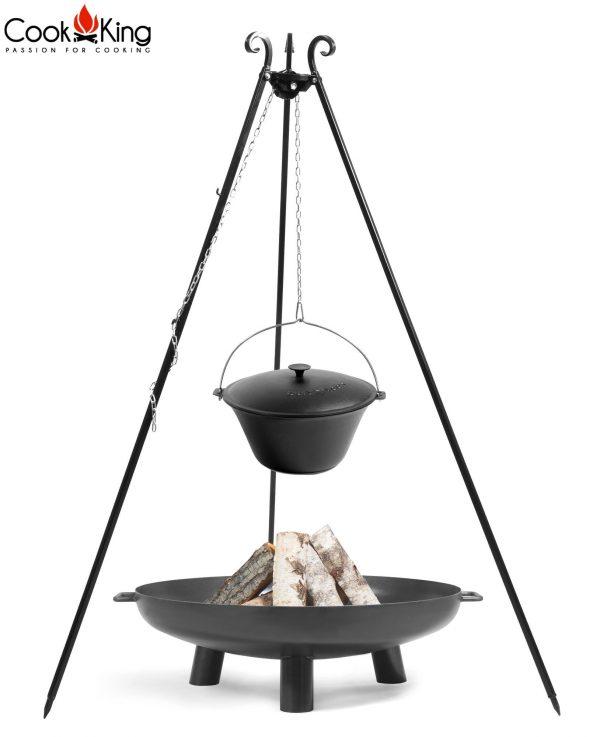 CookKing Feuerschale 'BALI' + Dreibeingrill 180cm mit Gusseisen-Topf