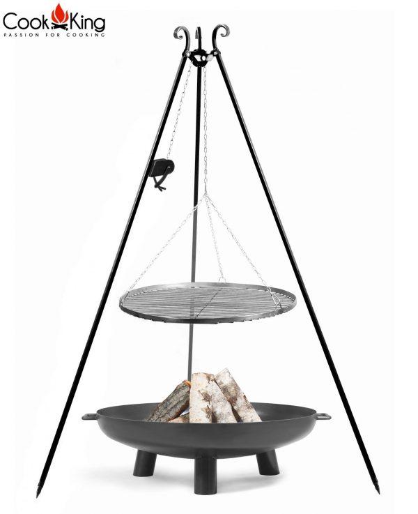 CookKing Feuerschale 'BALI' + Dreibeingrill 180cm mit Spule und Schwarzstahl-Grillrost