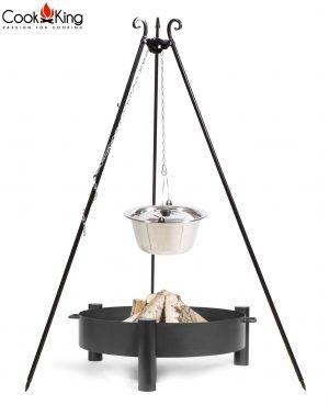 CookKing Feuerschale 'HAITI' + Dreibeingrill 180cm mit Edelstahl-Gulaschtopf