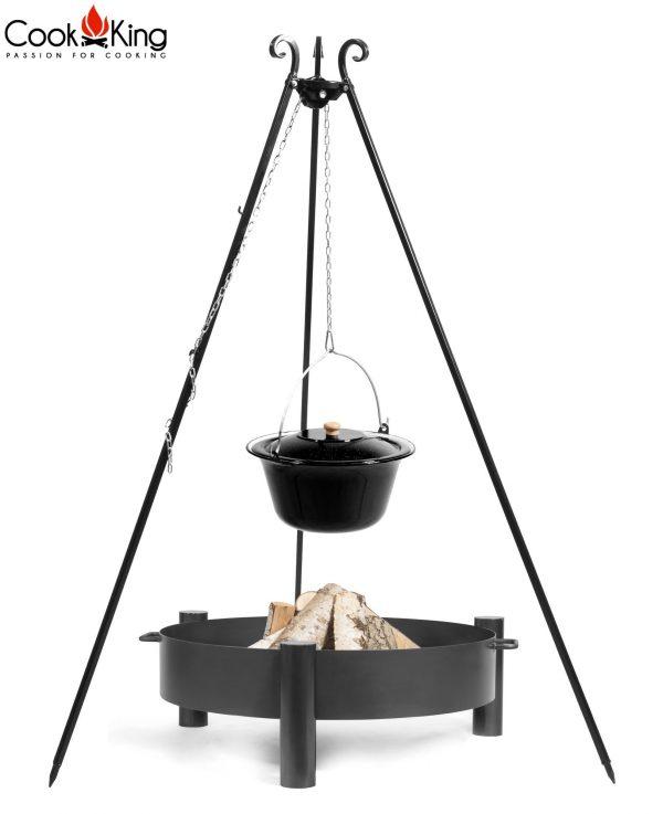 CookKing Feuerschale 'HAITI' + Dreibeingrill 180cm mit emailliertem Gulaschtopf