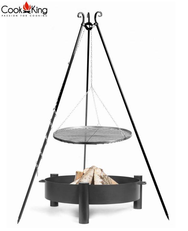CookKing Feuerschale 'HAITI' + Dreibeingrill 180cm mit Schwarzstahl-Grillrost