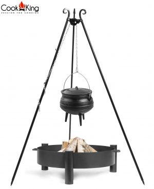 CookKing Feuerschale 'HAITI' + Dreibeingrill 180cm mit Gusseisen-Afrikatopf