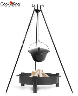 CookKing Feuerschale 'HAITI' + Dreibeingrill 180cm mit Gusseisen-Topf