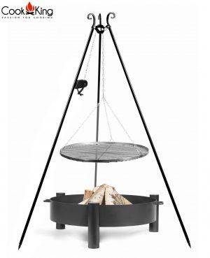 CookKing Feuerschale 'HAITI' + Dreibeingrill 180cm mit Spule und Schwarzstahl-Grillrost