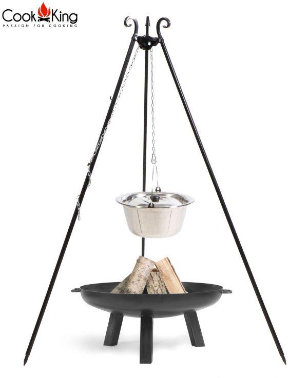 CookKing Feuerschale 'POLO' + Dreibeingrill 180cm mit Edelstahl-Gulaschtopf