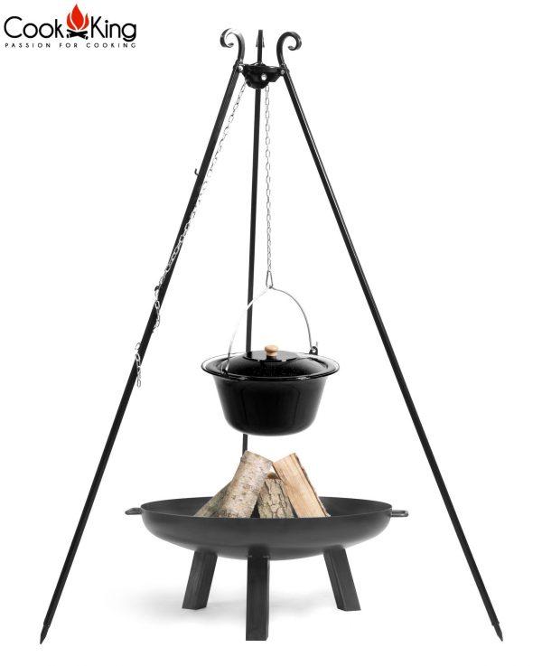 CookKing Feuerschale 'POLO' + Dreibeingrill 180cm mit emailliertem Gulaschtopf