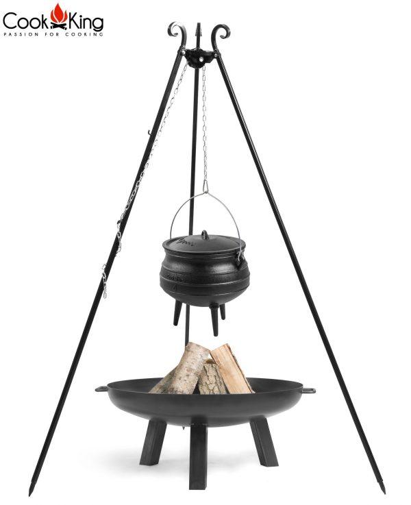 CookKing Feuerschale 'POLO' + Dreibeingrill 180cm mit Gusseisen-Afrikatopf