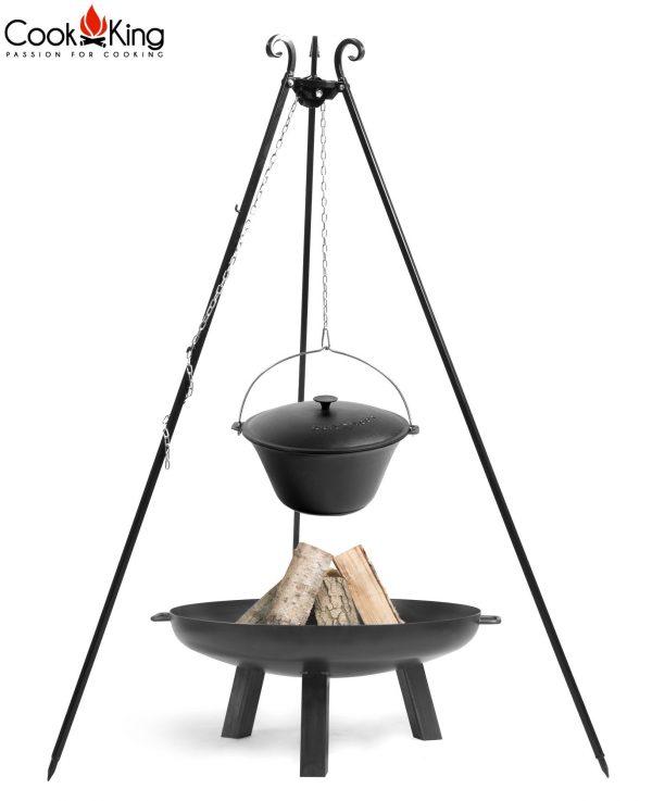 CookKing Feuerschale 'POLO' + Dreibeingrill 180cm mit Gusseisen-Topf