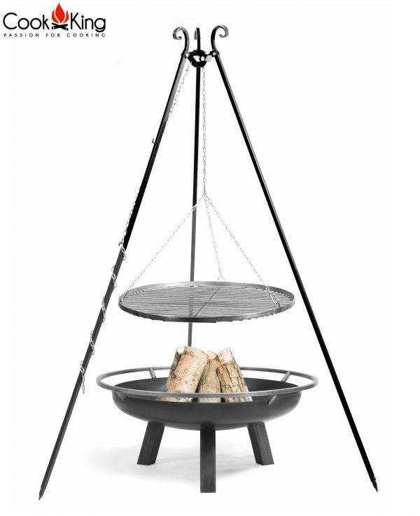 CookKing Feuerschale 'PORTO' + Dreibeingrill 180cm mit Schwarzstahl-Grillrost