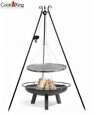 CookKing Feuerschale 'PORTO' + Dreibeingrill 180cm mit Spule und Schwarzstahl-Grillrost