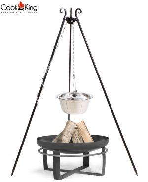CookKing Feuerschale 'VIKING' + Dreibeingrill 180cm mit Edelstahl-Gulaschtopf