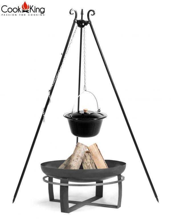 CookKing Feuerschale 'VIKING' + Dreibeingrill 180cm mit emailliertem Gulaschtopf