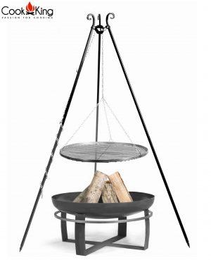 CookKing Feuerschale 'VIKING' + Dreibeingrill 180cm mit Schwarzstahl-Grillrost