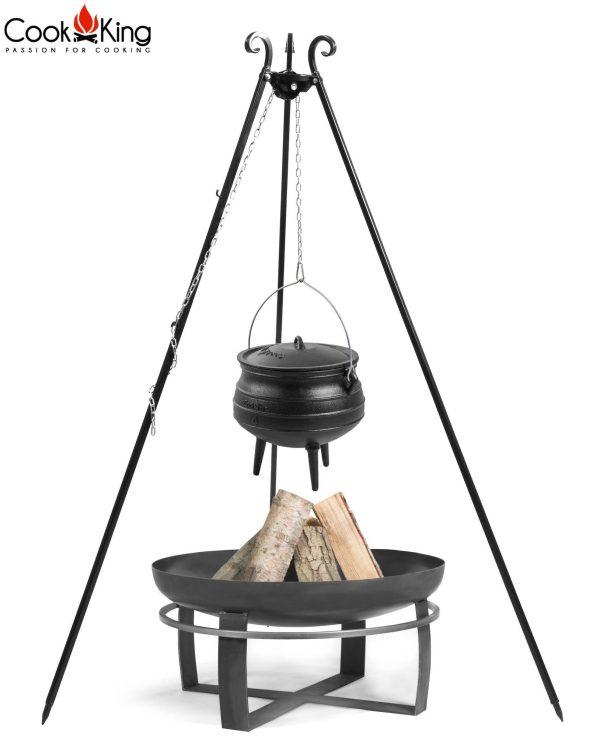 CookKing Feuerschale 'VIKING' + Dreibeingrill 180cm mit Gusseisen-Afrikatopf