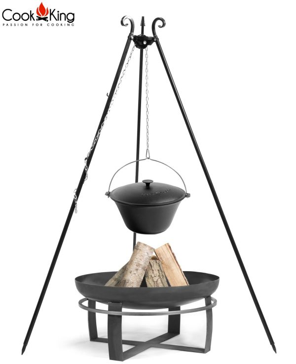 CookKing Feuerschale 'VIKING' + Dreibeingrill 180cm mit Gusseisen-Topf