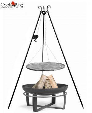 CookKing Feuerschale 'VIKING' + Dreibeingrill 180cm mit Spule und Schwarzstahl-Grillrost